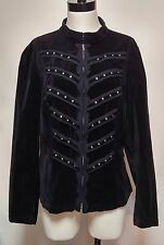 Tripp Blazer Zip Jacket Steampunk Goth Black Velvet Military Studded 2 2X
