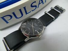 PULSAR by SEIKO AS32-X015 SOLAR MENS WATCH  *EX-DISPLAY* *LEATHER* RRP £169.99