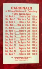 ST. LOUIS CARDINALS 1990 SPRING TRAINING ST. PETERSBURG FLORIDA POCKET SCHEDULE