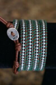 NEW Designer Chan Luu Small Grey Pearl Natural Brown 5 Wrap Leather Bracelet