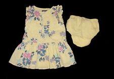EUC Baby GAP Outlet Girls Yellow Purple & Pink Floral, Polka Dot Dress 3-6 M
