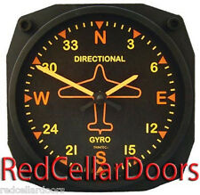 "New TRINTEC Directional Gyro Clock Vintage Aviation Dial 6.5"" Sq Aeroplane Pilot"