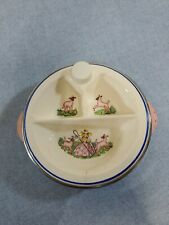 Vtg 40s Bartsch Baby Food Warming Divided Dish Little Bo Peep Pink and Blue