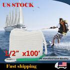 Boat Docking Line Twisted Anchor Marine Mooring Rope W/Thimble 1/2''×100' White