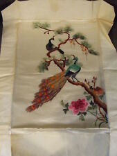 ANTIQUE CHINESE EMBROIDERED SILK PEACOCK TEXTILE PANEL