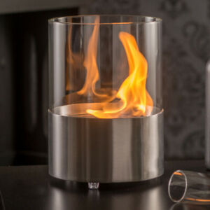Tischkamin MODENA Bio-Ethanol Kamin Tischofen Dekofeuer Edelstahl Glas Silber