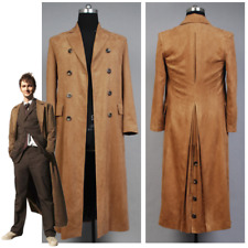 Who is Doctor Who Dr. Brown Cosplay Costume Long Trench Suede Coat Halloween