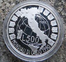 ITALIA   500 LIRE 1989  MONDIALI DI CALCIO ARGENTO  FS  PROOF    ZECCA SIGILLATA