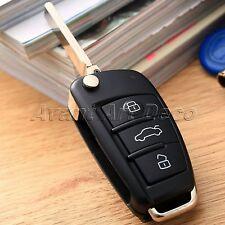 Flip 3 Button Remote Key Fob Shell Uncut Blade For Audi A2 A3 A4 A6 A6L A8 TT