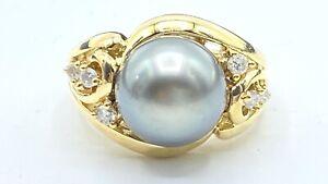 NATURAL DIAMOND & 11 mm tahitian black PEARL ring SOLID 14k yellow gold