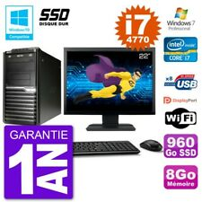 "PC Acer Veriton M4630G MT Ecran 22"" i7-4770 RAM 8Go SSD 960Go DVD Wifi W7"