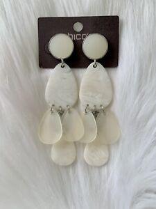 NWT Chico's White Seaglass Chandelier Drop Pierced Earrings