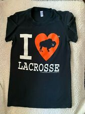 """~ """"I Love Lacrosse"""" T Shirt~Size Small with Buffalo in the red heart~Gently used"""