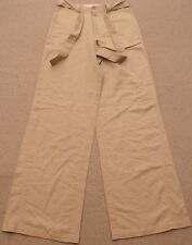"OILILY  linen cotton wide leg khaki-color tan pants, womens 26 1/2"" waist, NEW"