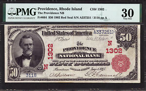 $50 1902 Red Seal The Providence National Bank, Rhode Island CH 1302 PMG 30