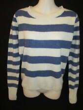 100% Cashmere Blue Cream Striped Round Neck Sweater May fit Small S M
