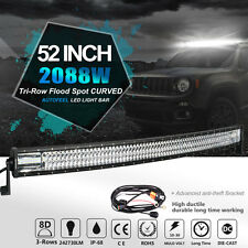 "8D+ Tri-Row 52""in 2088W Curved LED Work Light Bar Spot Flood Combo OFFROAD 54/50"