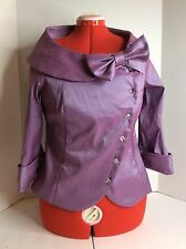 Soraya Golyari Evening Wear Formal Wedding Mother Jacket Purple Bling Bow SZ L
