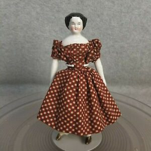 """7"""" antique German China Shoulder Head Doll with cloth body 1880s Dollhouse Size"""