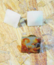 Cream Colored Square Pierced Earrings & Square Brooch/Pin With Cherub