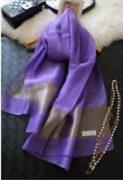 Foulard Echarpe Chale Etole Femme Violet 100% Soie