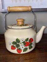 Vintage Fraise Tea Pot Strawberries Wood Handle Dated 1981