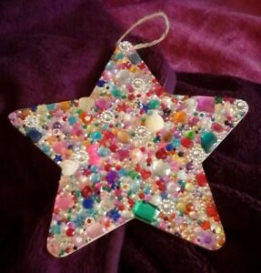 X LARGE HANDMADE GEM ENCRUSTED WOODEN STAR HANGING GIFT - new - 25.5x25.5cm