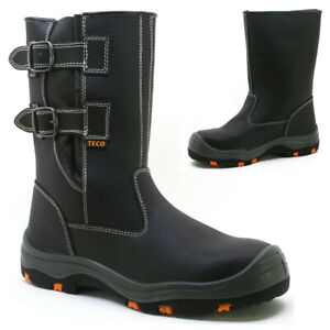 MENS LEATHER STEEL TOE CAP SAFETY WORK PULL ON RIGGER BIKER SHOES BOOTS S3 SIZE