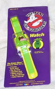 1986 THE REAL GHOSTBUSTERS WATCH SLIMER THE GREEN GHOST MINT ON CARD NEW