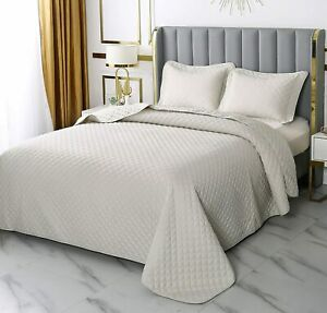 4U'LIFE Elegant Diamond Stitched Bedspread Set,Coverlet Set,Blanket Set (Dusty B