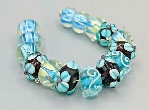 New 15 pc set Fine Murano Lampwork Glass Beads - 14mm - B-A564