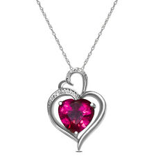 Diamond and Created Ruby Heart Pendant in 10k White Gold with Free 18 Inch Chain