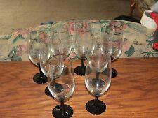 """8- Black Stem Clear Bowl  Goblets (8.25"""")"""