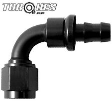 "AN -6 (6AN AN6) 90 Degree 8mm 5/16"" Barb Push on Hose Fitting In Stealth Black"
