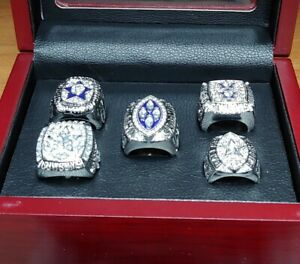 Dallas Cowboys - Super Bowl Silver Color 5 Ring Set W Wooden Box Aikman Staubach