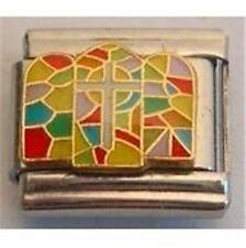 CROSS STAINED GLASS CHURCH WINDOW ITALIAN CHARM FOR 9MM CLASSIC DIY BRACELETS