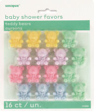 16 Plastic Teddy Bear Baby Shower Party Decoration Favours Treat Bag Boy Girl