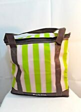 Publix reusable insulated cooler/hot bag striped green brown and beige 13x13x7