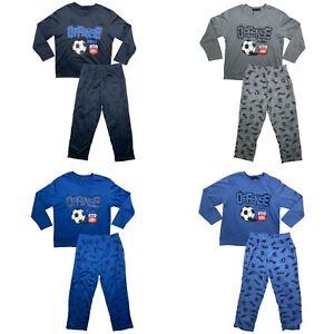Boys Kids Pyjamas Long Sleeve Top Bottom Set Nightwear PJs Cotton Football Footy