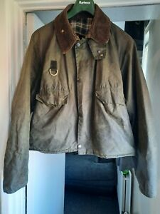 Barbour Vintage A130 Spey Jacket Size Large waxed green RARE