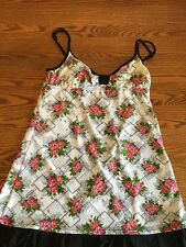 Betsey Johnson Swim Pink Rose Floral White Cover Up Dress Med. EUC Bottom Ruffle