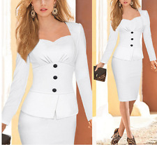 Elegant Women Work Wear Dress Ladies Button Bodycon Pencil Office Slim Dress
