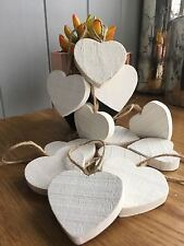 12 x Cream Wishing Tree Chunky Rustic Wooden Hanging Hearts Craft  Wedding Decor