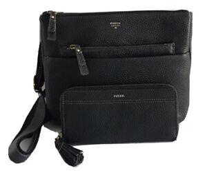 FOSSIL Tessa Pebbled Leather Crossbody Bag Purse + Zip Clutch Wallet, 2 Pcs NWT