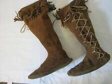 Minnetonka Moccasins Boots Leather Fringe Womens Size 11 Knee High Lace Up