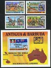 Barbuda 982-985,986 S/S, MNH.16th Word Scout Jamboree, Australia. Ovptd. 1988