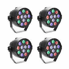 4 Pack 12 LED PAR CAN Stage DMX Lighting RGBW DJ Disco Party Wedding Uplighting