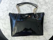 COACH F57526 Ava Tote Crossgrain Leather Handbag- Black Patent