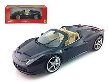 1/18 Hot Wheels Ferrari 458 Spider Diecast Model Car Dark Blue X5529