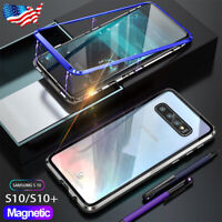 For Samsung Galaxy S10 S10+ S10e Magnetic Adsorption Metal Case Glass Back Cover